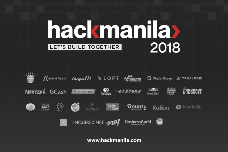 Hack Manila Event Poster, with Sponsors' and Partners' Logos